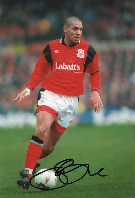 Stan Collymore, Nottingham Forest, signed 12x8 inch photo.